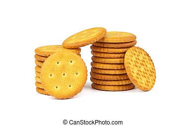 Crackers isolated on white background