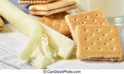 Crackers, milk and cheese - Healthy snack food, crackers,...