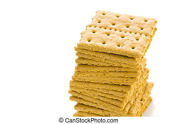 Crackers - Stack of graham crackers on a white background.