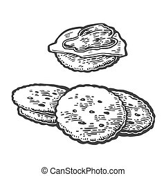 Crackers with butter and jam.