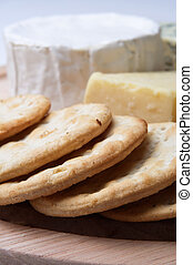 Crackers with Cheese Selection - Close up of a board of...