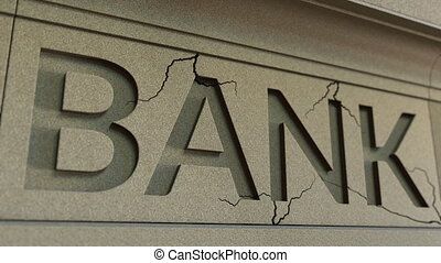 Cracking bank facade. Banking crisis conceptual 3D animation...