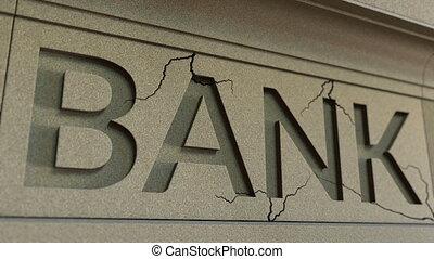Cracking bank facade. Banking crisis conceptual 3D animation...
