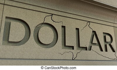 Cracking DOLLAR word on the stone facade. American financial...