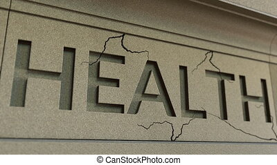 Cracking HEALTH word on the stone facade. Illness or disease...