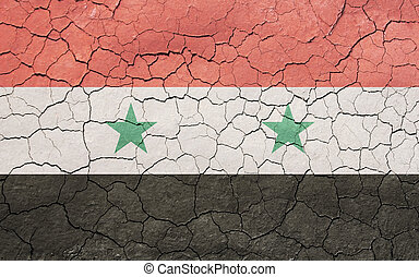 Cracking Syrian Flag - Faded, cracked, and aged texture,...