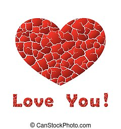 Cracks heart with text