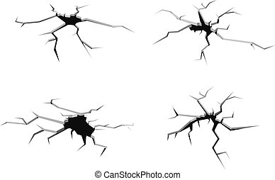 Set of cracks in ground isolated on white background for crash design