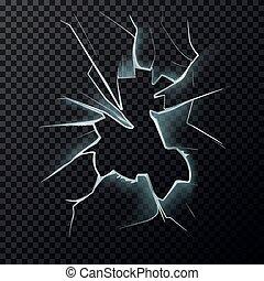 Cracks on broken window with cracks