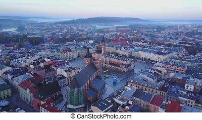 cracovia, quadrato, polonia, storico, aereo, mercato, vista