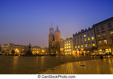cracow, 廣場, 市場, 夜晚