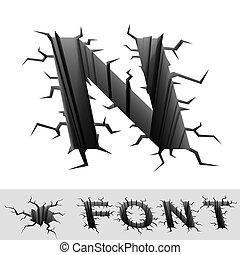 cracked font letter N - cradle 3d illustration of cracked ...
