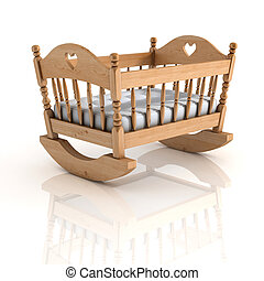 cradle 3d illustration of isolated on white