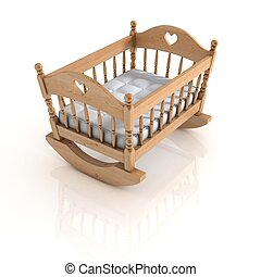 cradle isolated - cradle 3d illustration isolated on white