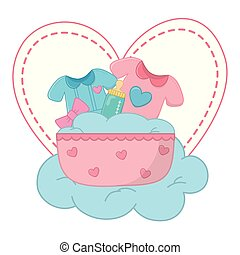 cradle with baby clothes vector illustration