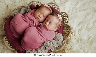 cradling the two twins girls