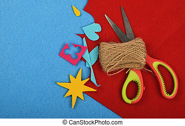 Craft and art felt cuts, twine and scissors
