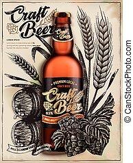Craft beer ads, exquisite bottled beer in 3d illustration ...
