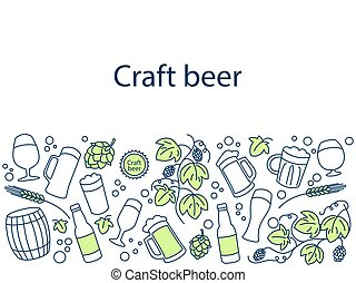 Craft beer banner vector illustration. Icons line art set