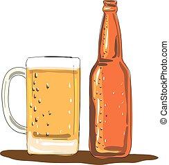 Craft Beer Bottle and Mug Watercolor - Illustration of a...