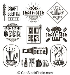 Craft beer brewery emblems, labels and design elements. ...