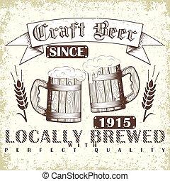 Craft beer emblem - Vintage t-shirt graphic design, grange ...