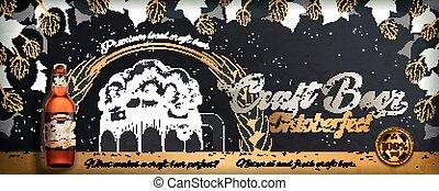 Craft beer engraving style ads for Oktoberfest on blackboard...