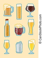Craft beer icon set, hand drawn style