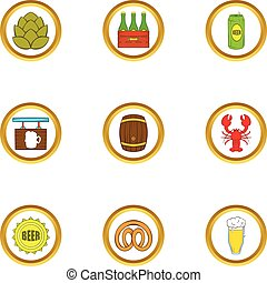 Craft beer icons set, cartoon style