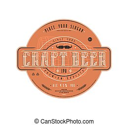 Craft beer label template in vintage style