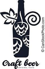 Craft beer logo - Vector set of vintage craft beer, alcohol,...
