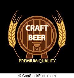 Craft beer on barrel - Vector illustration of premium ...