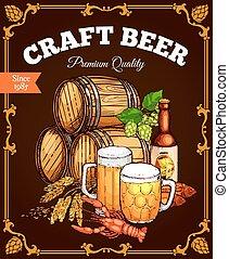 Craft beer pub bar vector retro poster - Beer pub poster....