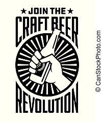 Craft Beer Revolution vector badge or label design.