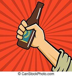 Fist holding a bottle of craft beer in retro logo banner design.