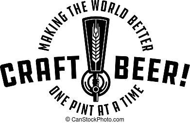 Craft Beer Vector Design - Craft beer draft tap logo graphic...