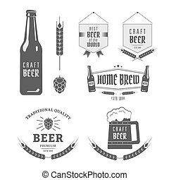 Craft beer - Vintage label set craft beer. Brewery emblems...