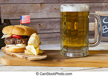 Craft Beer With Hamburger