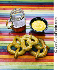 Craft Beer With Pretzel and Cheese