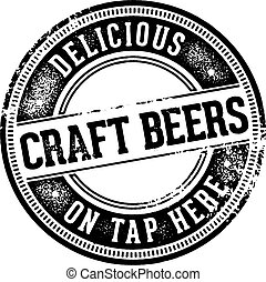 Craft Beers on Tap Here Sign