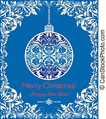 Craft blue greeting for winter holidays with decorative cut out floral border and hanging ball