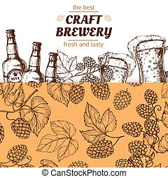 Craft brewery banner template with hand drawn hops and beer