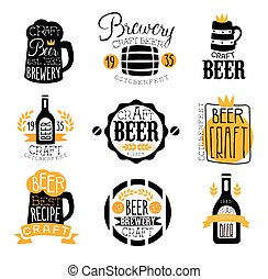 Craft Brewery Set Of Logo Design Templates. Black And Yellow...