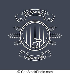 Craft brewing. Beer keg. Vintage emblem.