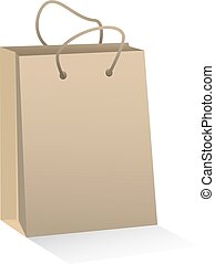Craft brown paper shopping bag. Vector illustration