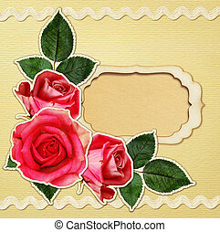 Craft card with rose flowers and a frame