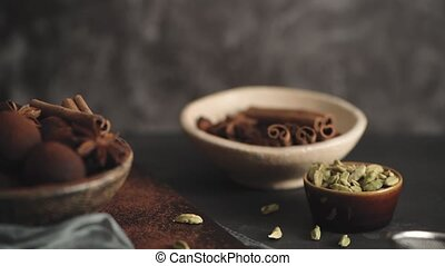 Craft chocolate truffles on plate with cocoa powder and ...