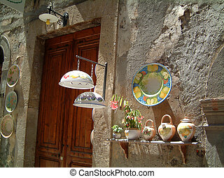 craft dispay tuscany - Display outside a shop in a Tuscan...