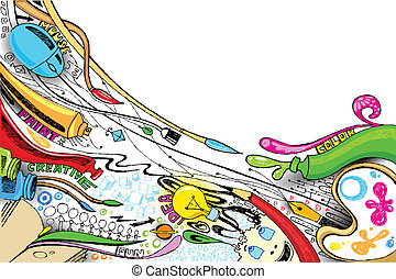 Craft Doddle - illustration of craft doodle with painting...