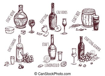 Craft drink sketch elements set with different alcoholic beverages and ingredients for production isolated vector illustration
